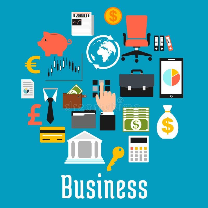 Symboles plats d'affaires dans une forme d'un rond illustration libre de droits