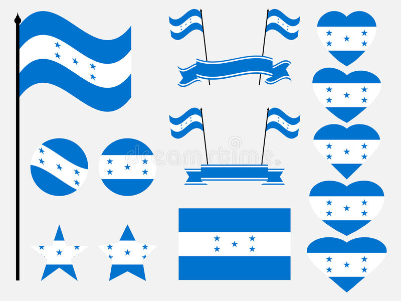 Symboles réglés de drapeau du Honduras, drapeau au coeur Vecteur illustration stock