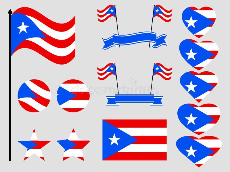 Symboles réglés de drapeau du Porto Rico, drapeau au coeur Vecteur illustration stock