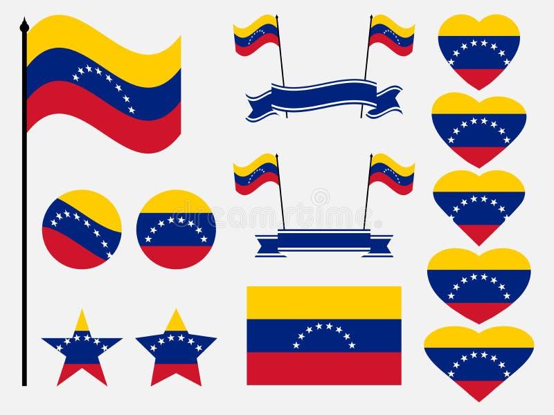Symboles réglés de drapeau du Venezuela, drapeau au coeur Vecteur illustration libre de droits