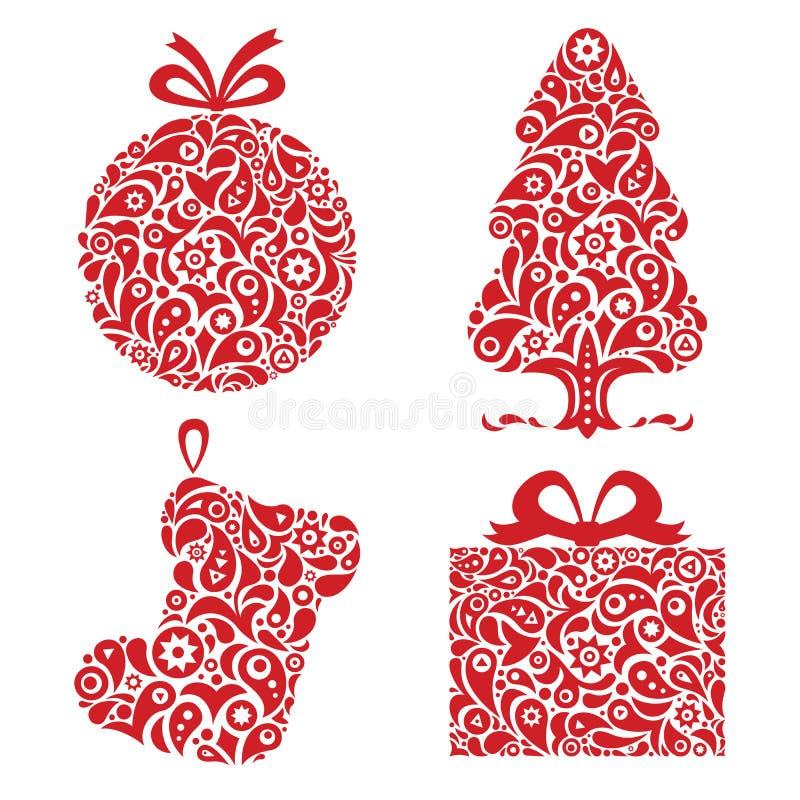 Symboles rouges d'ornamental de Noël illustration stock