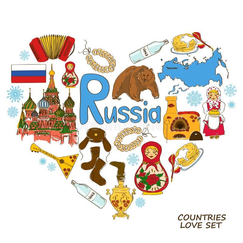 Symboles russes dans le concept de forme de coeur illustration stock