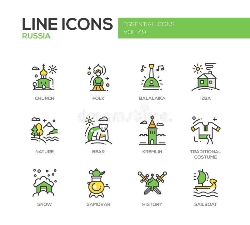 Symboles russes - ligne plate icônes de conception réglées illustration stock