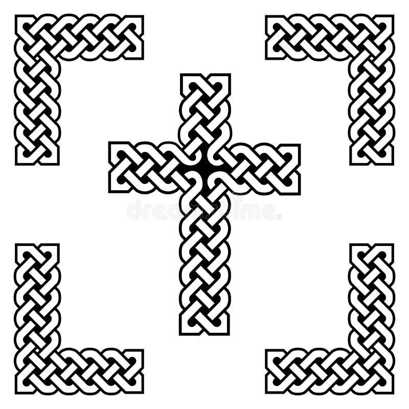 Symboles sans fin de style celtique de croix de noeud dans blanc et noir, avec le remplissage noir entre les noeuds, dans le cadr illustration libre de droits