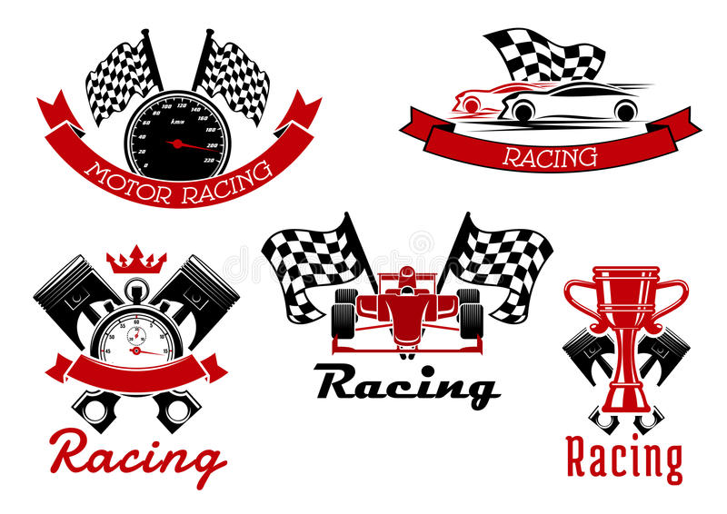 Symboles sportifs d'emballage automatique avec des voitures de course illustration libre de droits