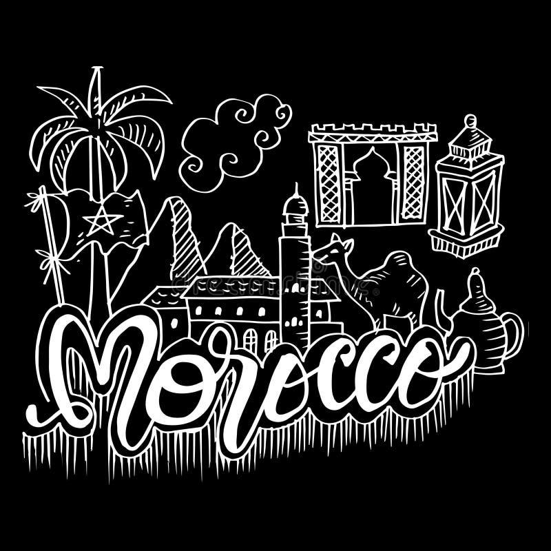 Symboles tirés par la main du Maroc illustration libre de droits