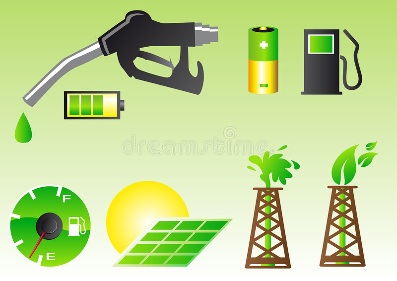 Symboles verts d'énergie illustration libre de droits