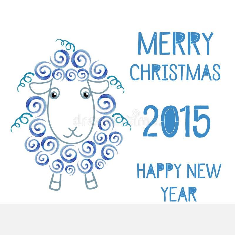 Symbolet av de nya 2015 fåren royaltyfri illustrationer