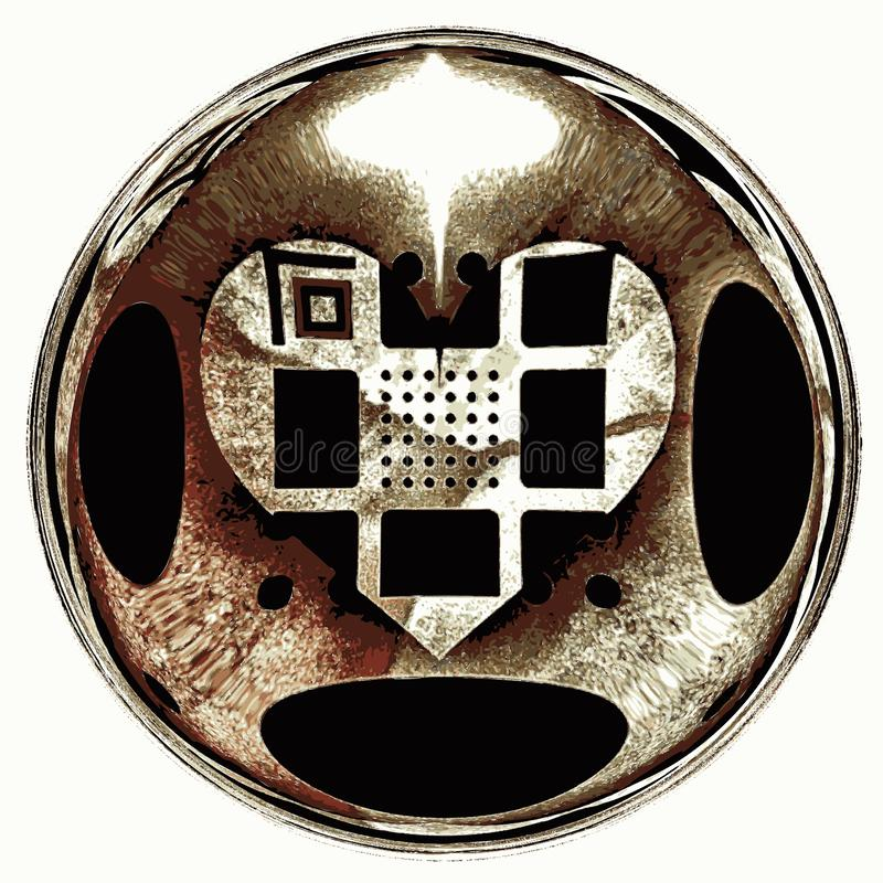 Symbolet av en gammal sjuk hjärta som dras på papper royaltyfri foto