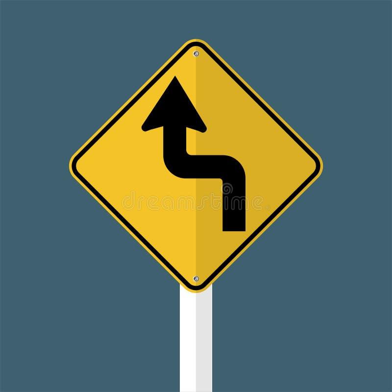 symbolet buktar framåt det vänstra trafikvägmärket som isoleras på grå himmelbakgrund också vektor för coreldrawillustration vektor illustrationer