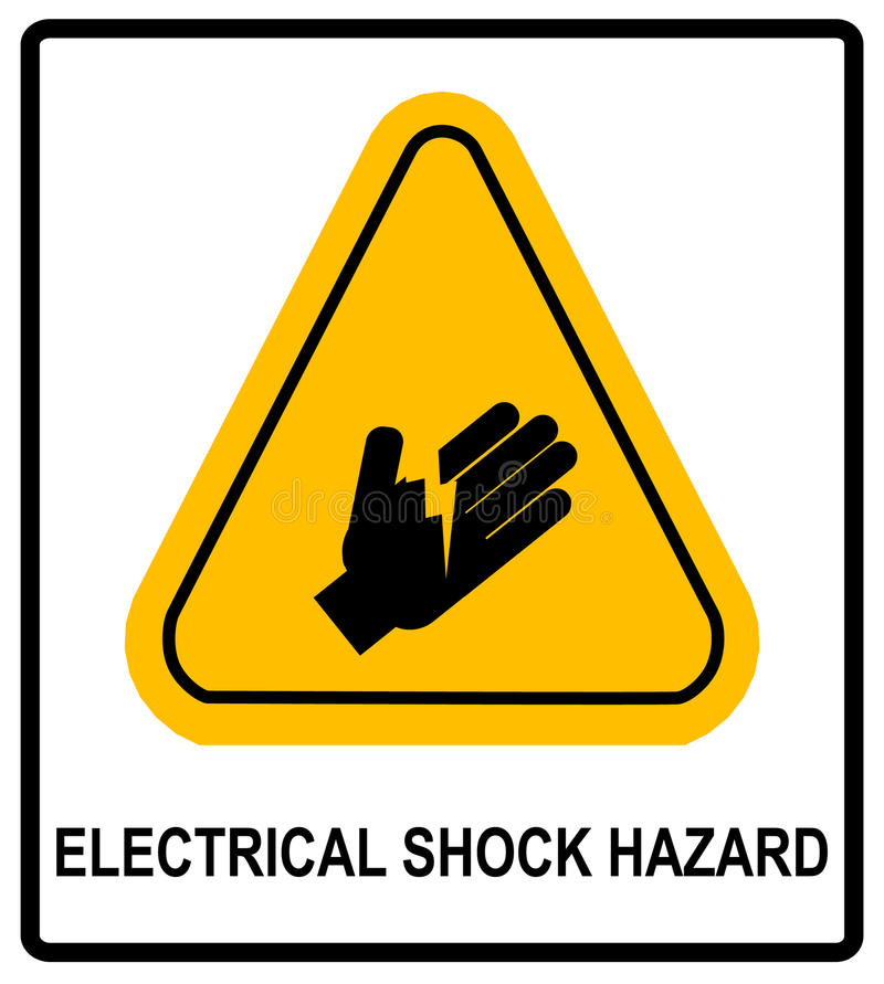 Symbolet för faran för elektrisk chock, vektorillustration med varning undertecknar in den gula triangeln som isoleras på vit royaltyfri illustrationer