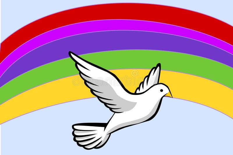 Symbolet för fred - en vit dök framme av en regnbåge vektor illustrationer