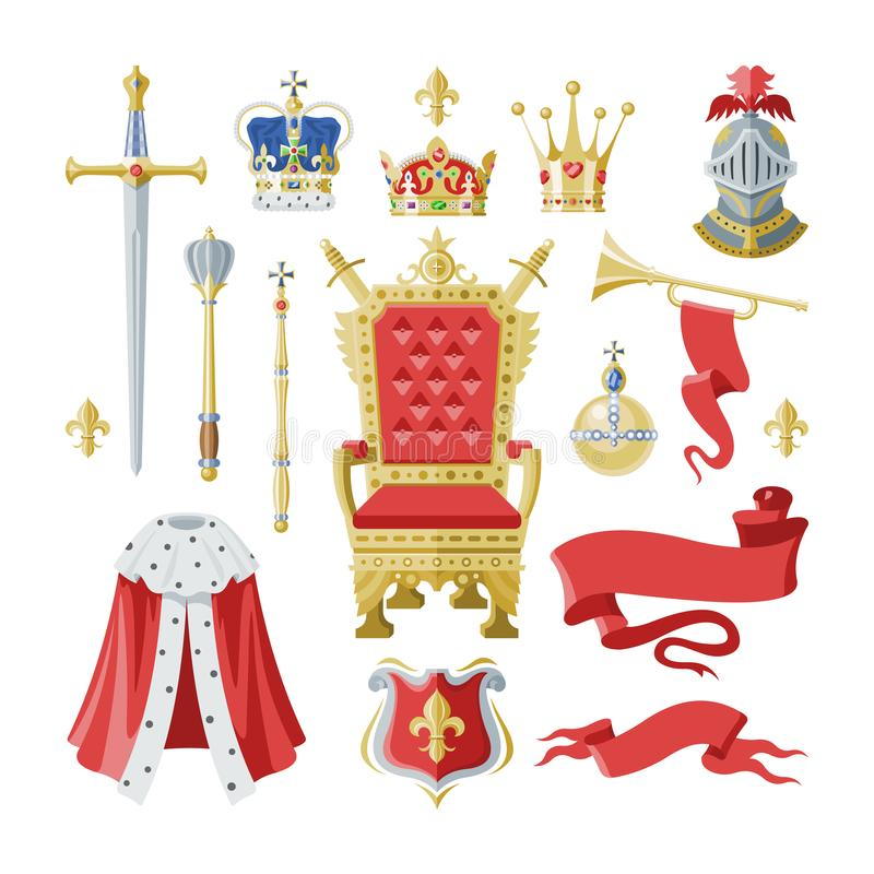 Symbolet in för kronan för royaltyvektorn ställde det guld- kungliga av tecknet för konungdrottning- och prinsessaillustrationen  vektor illustrationer