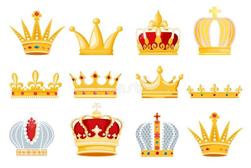 Symbolet in för smycken för kronavektorn ställde det guld- kungliga av tecknet för konungdrottning- och prinsessaillustrationen a royaltyfri illustrationer