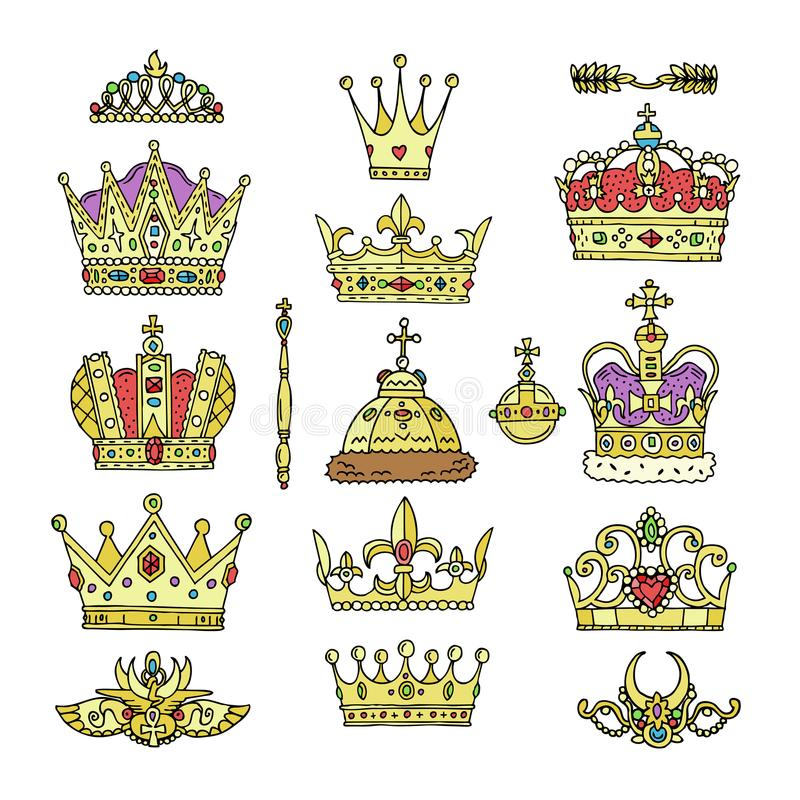 Symbolet in för smycken för kronavektorn ställde det guld- kungliga av tecknet för konungdrottning- och prinsessaillustrationen a stock illustrationer