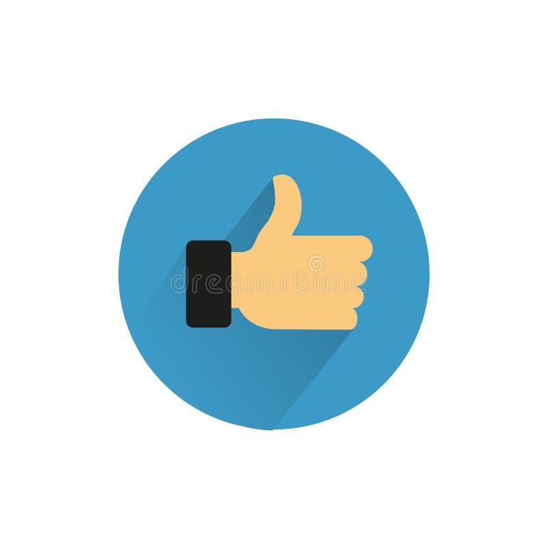 Symbolet gillar Illustration för fingersymbolsvektor Den plana handen gillar vektor illustrationer