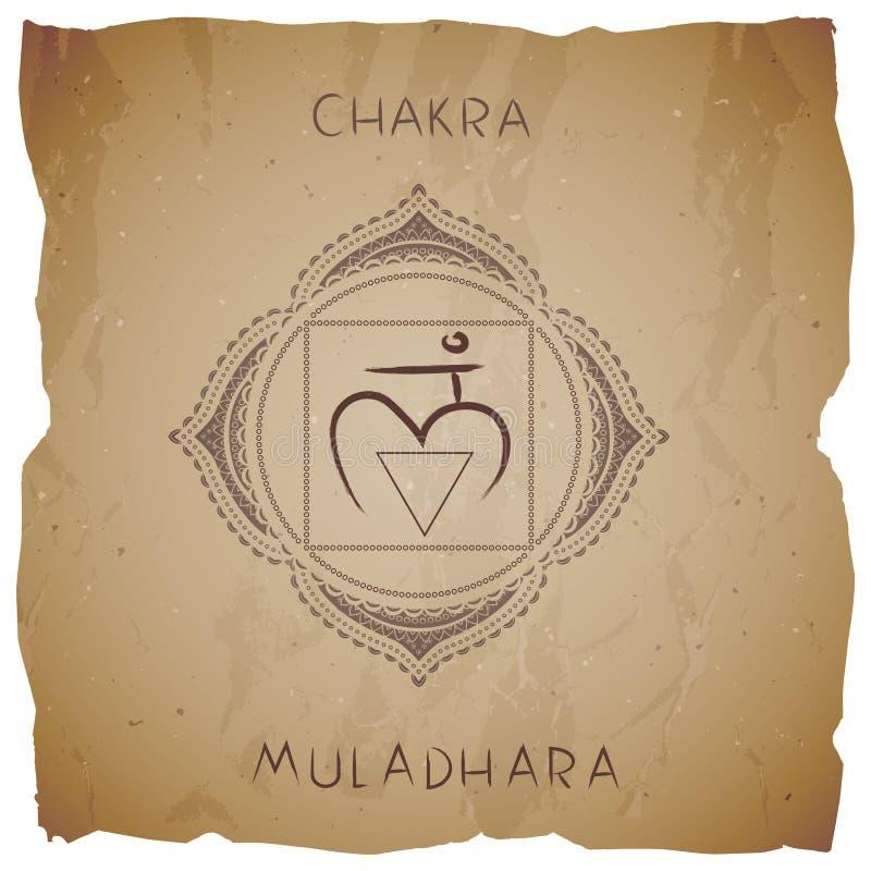 Symbolet Muladhara - rota chakraen på tappningbakgrund med den sönderrivna kanten royaltyfri illustrationer