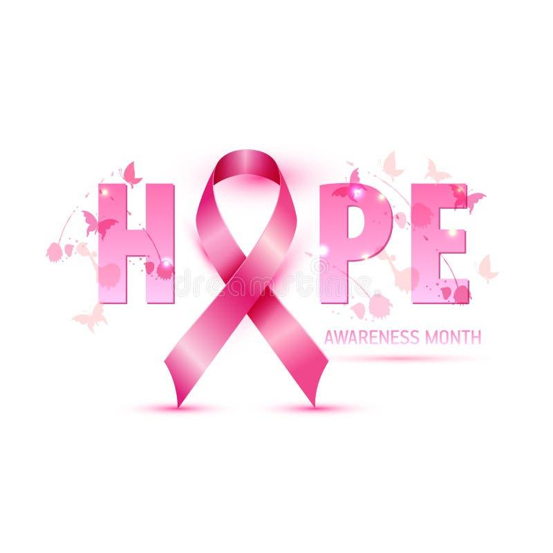 Symbolet ner för bandet för illustrationen för bröstcancermedvetenhetbegreppet bläckar det rosa, den rosa vattenfärgen med text o vektor illustrationer
