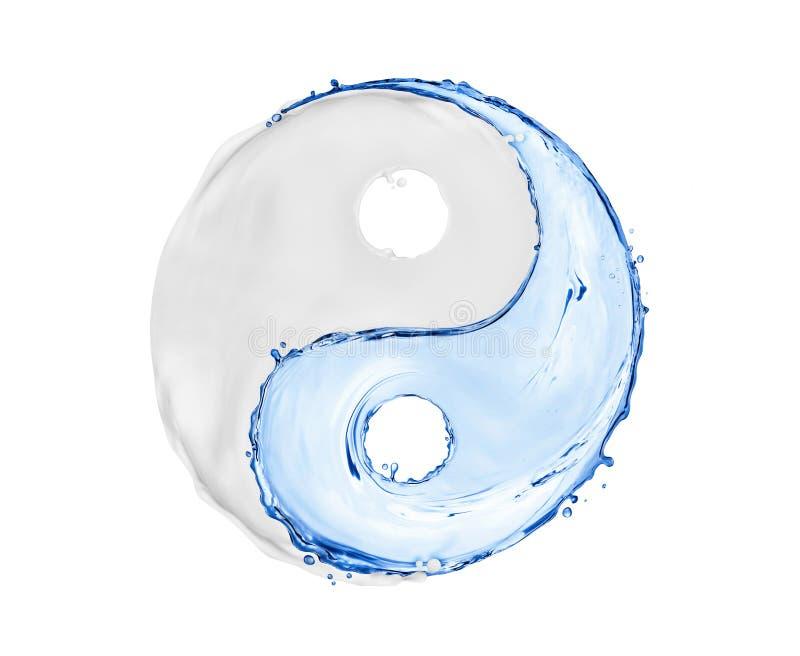 Symbolet Yin Yang som göras av vattenfärgstänk och skönhetsmedlet, lagar mat med grädde royaltyfri illustrationer