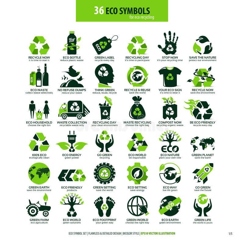 36 symboli/l?w dla eco przetwarza? ilustracja wektor