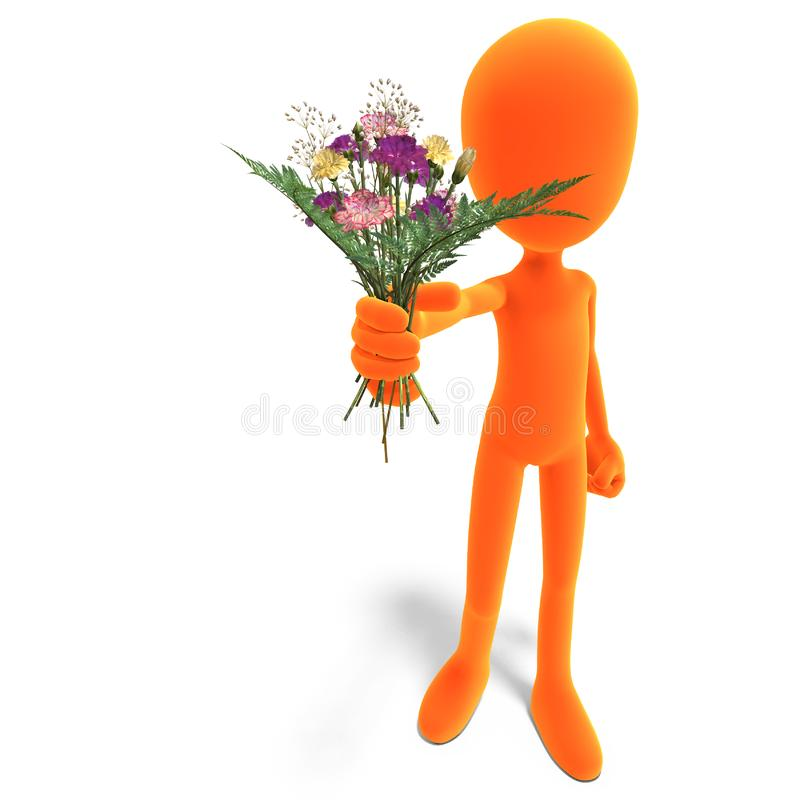 Download Symbolic 3d Male Toon Character Give You Flowers Stock Illustration - Illustration of droll, gift: 15143999
