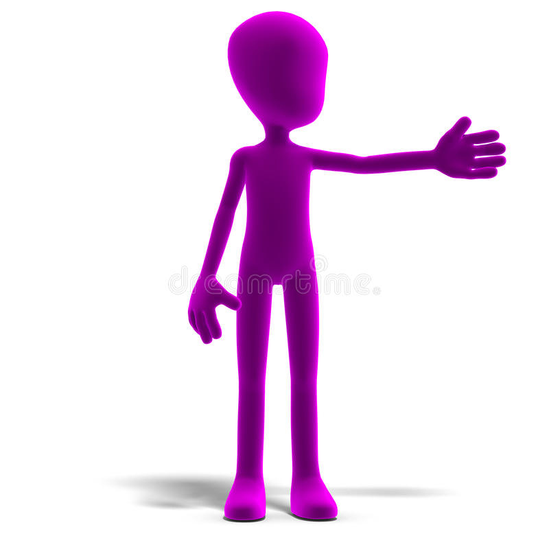 Symbolic 3d male toon character show us the vector illustration