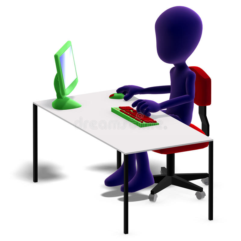 Download Symbolic 3d Male Toon Character Working With A Stock Illustration - Image: 15143984