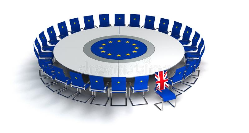 Symbolic brexit image with great britain leavin the european union royalty free stock image
