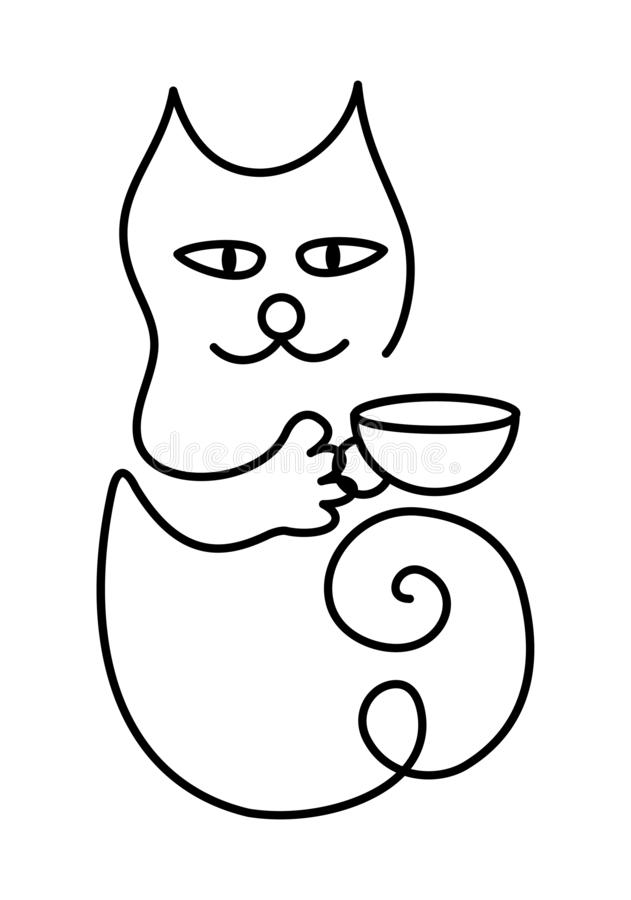 Symbolic cartoon cat with a cup of tea or coffee. Figure one line. stock illustration