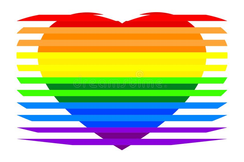 Colorful rainbow striped heart LGBTQ colors, isolated on white transparent background. vector illustration