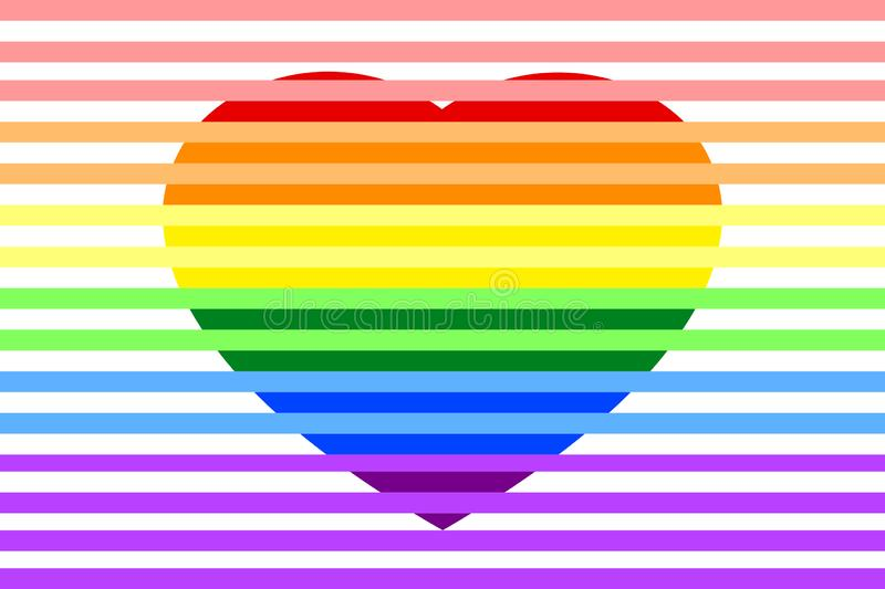 Colorful rainbow striped heart LGBTQ colors, isolated on white transparent background. royalty free illustration