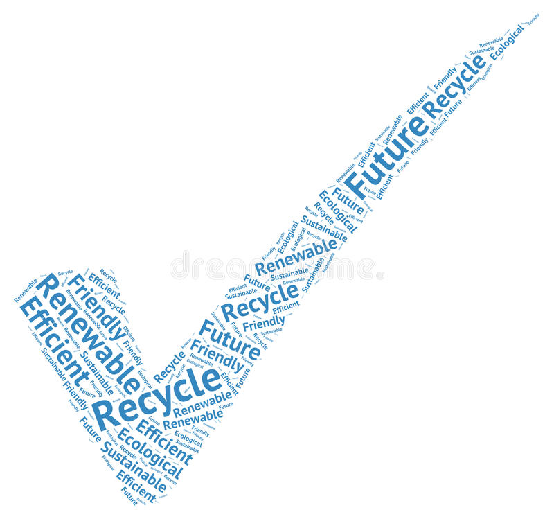 Symbolic ecological check mark creaded by words: recycle, future royalty free stock images