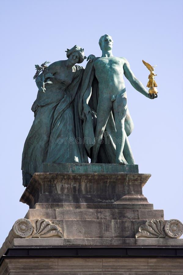 Symbolic figure of Knowledge and Glory stock photo