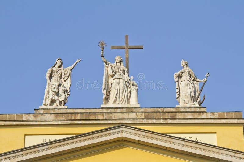 Symbolic figures of Faith, Hope and Love stock photo