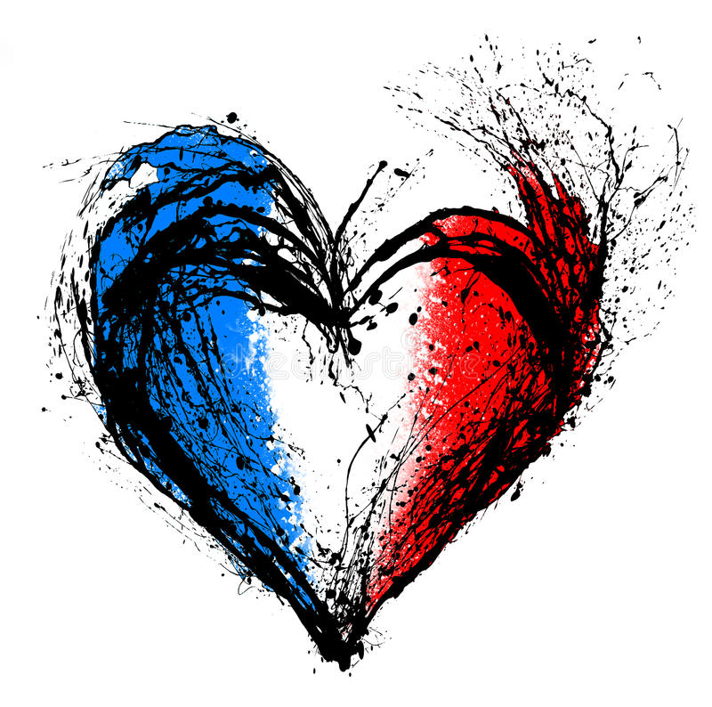 Free Symbolic Heart In The Colors Of The French Flag Stock Images - 62295954