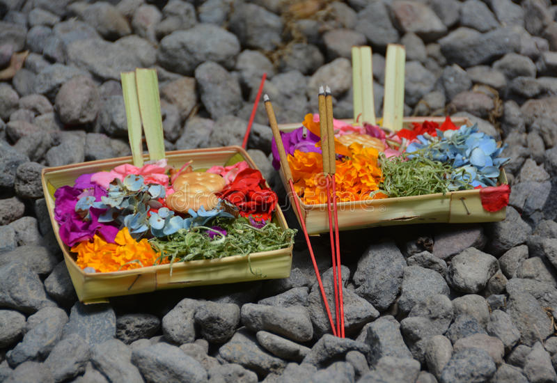 Symbolic daily Hindu offerings in Bali Indonesia. stock photo