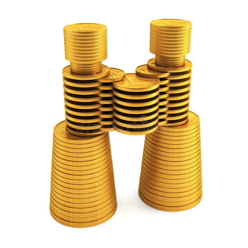 Symbolic Money S Binoculars Royalty Free Stock Image