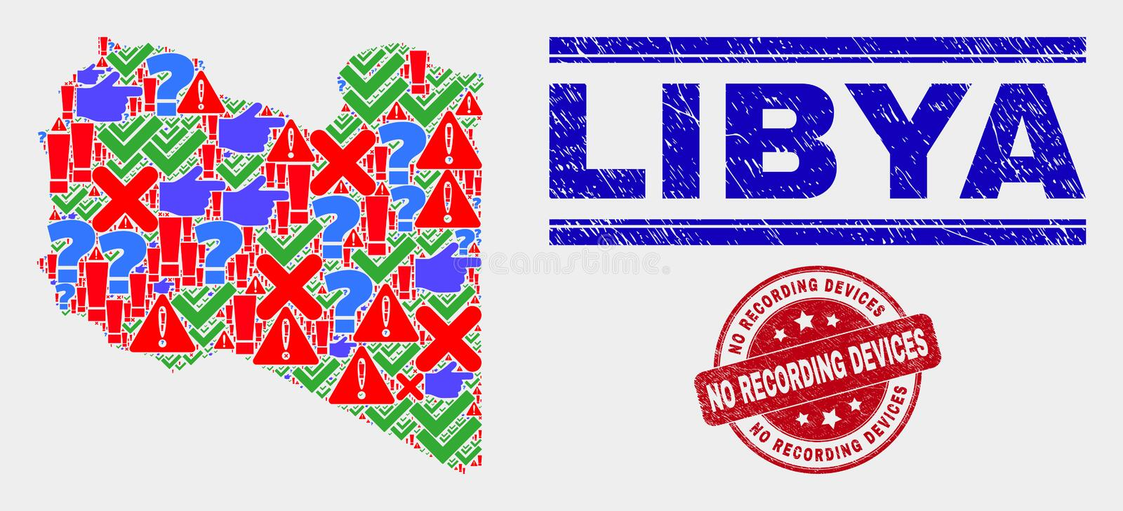 Composition of Libya Map Sign Mosaic and Distress No Recording Devices Watermark. Symbolic Mosaic Libya map and seal stamps. Red rounded No Recording Devices stock illustration