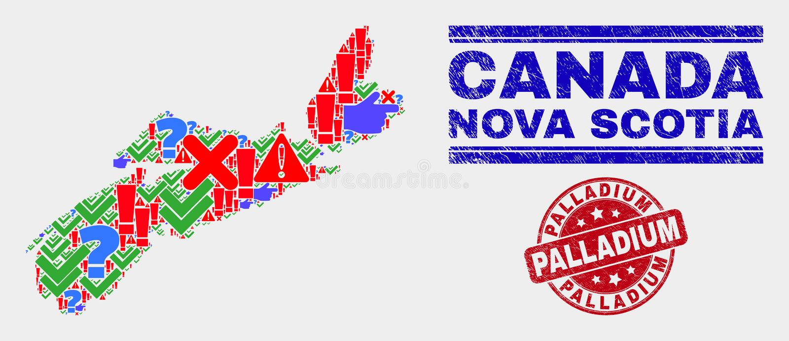 Composition of Nova Scotia Province Map Symbol Mosaic and Scratched Palladium Stamp Seal stock illustration