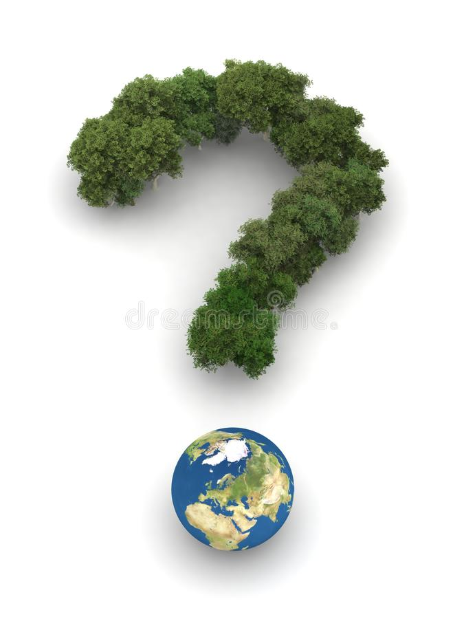 Symbolic Question Mark With Earth And Trees Royalty Free Stock Photography