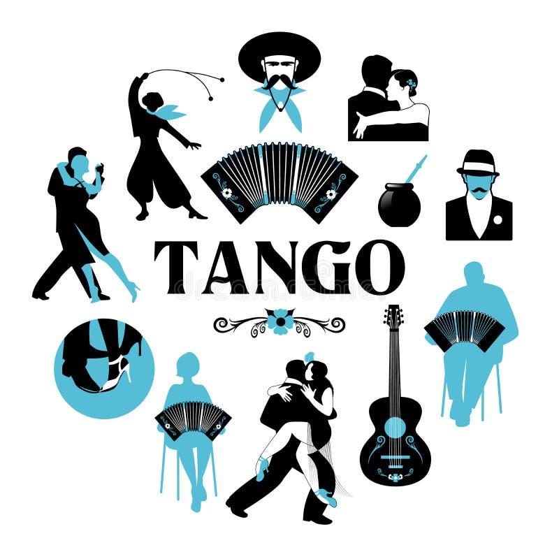 Symbolic silhouettes around the world of Tango. Dancers, gauchos, bandoneon, guitar royalty free illustration