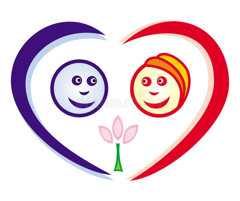 Symbolic smiley boy and girl on the background of the heart. Valentine`s Day. royalty free illustration