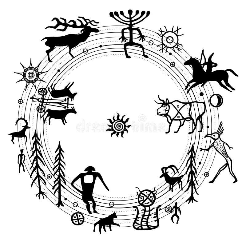 Symbolical πρωτόγονος κόσμος, ρύθμιση ειρήνης Σύνολο petroglyphs, απεικόνιση αποθεμάτων