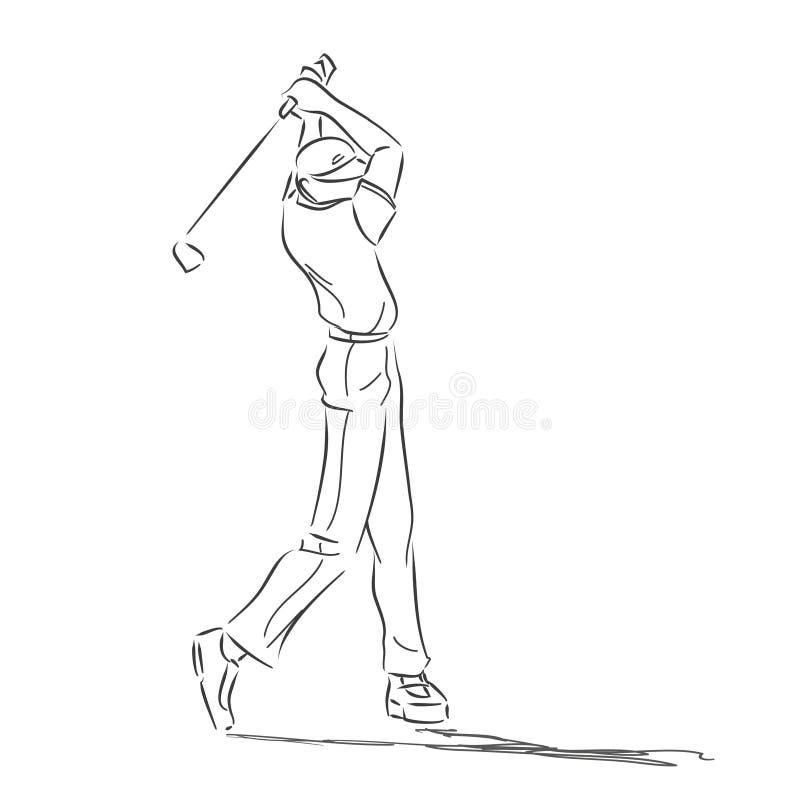 Symbolical rysunek z golfistą w ruchu royalty ilustracja