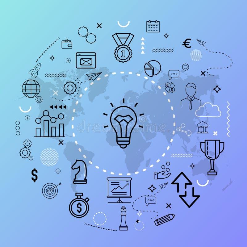 Symboliczni ikon pojęcia - ilustracja Waluta, robot, koło, innowacja, ludzie ikony pojęcia royalty ilustracja