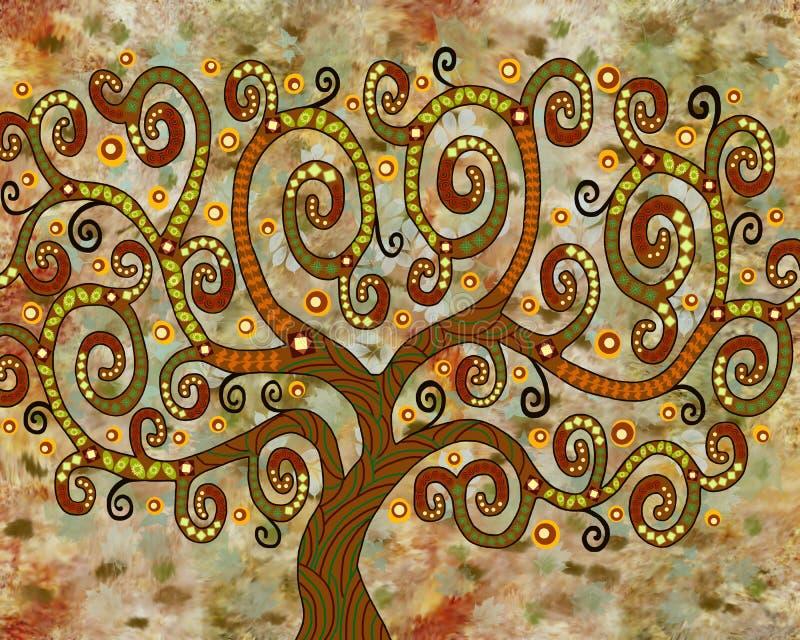 Symboliczny baśniowy drzewo niezwykły kolor i kształt ilustracja wektor