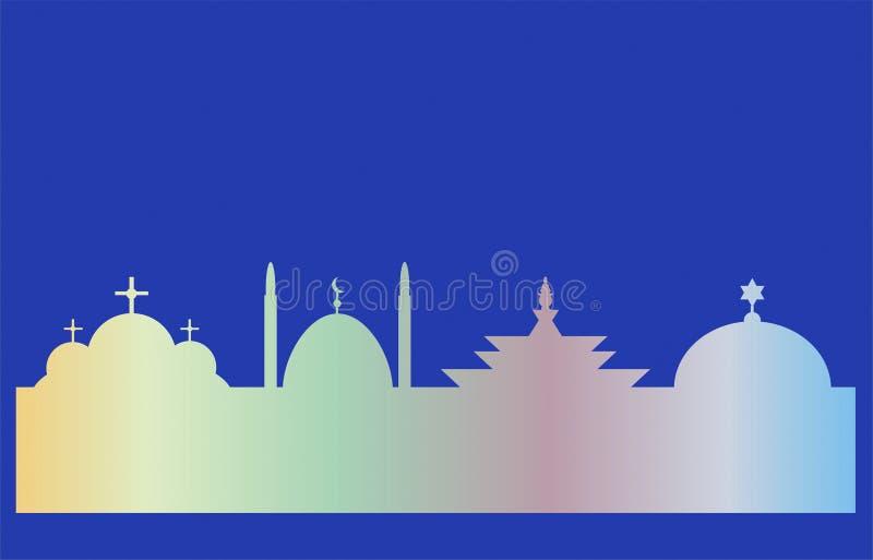 Świątynie cztery religii ilustracja wektor
