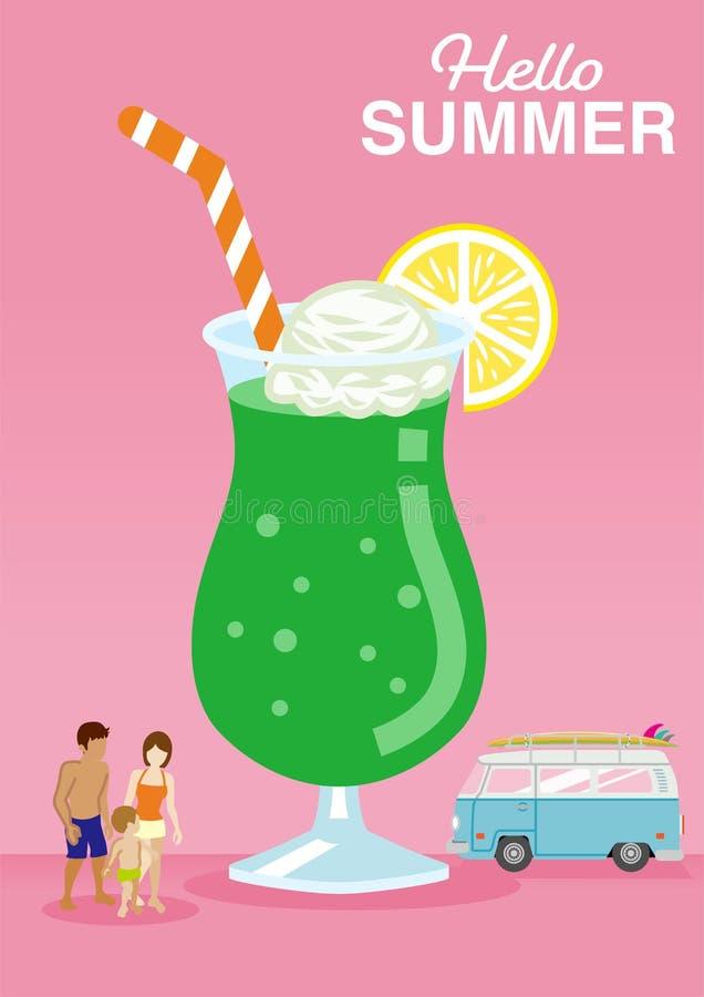 Symboliczny wakacje wizerunek, Śliczny lody pławika sok furgonetka samochód i rodzina który są ubranym swimwear, - Zawierać zdjęcie royalty free