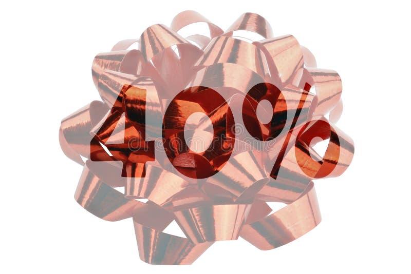 40% symboliquement représenté en tant que nombre accentué avec le signe de pour cent devant une boucle de cadeau image stock