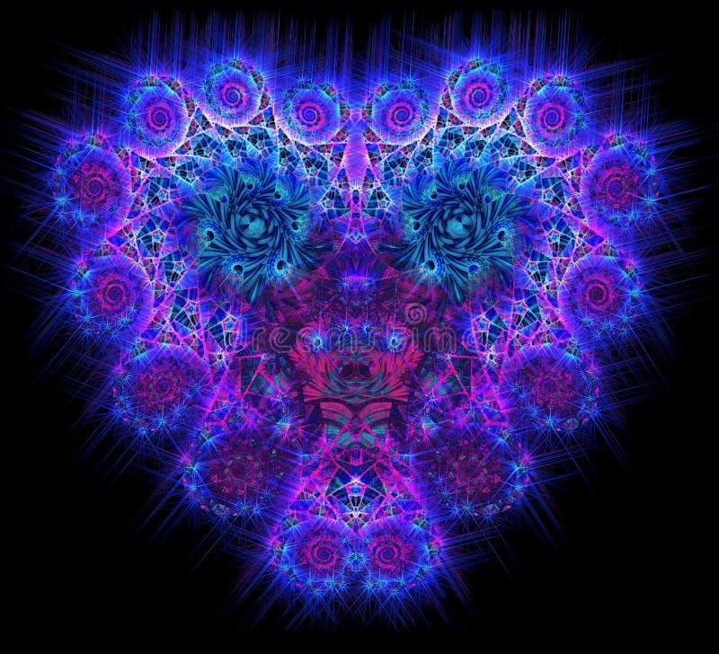 Symbolisch diamant hart-vormig blauw hart dat vector illustratie